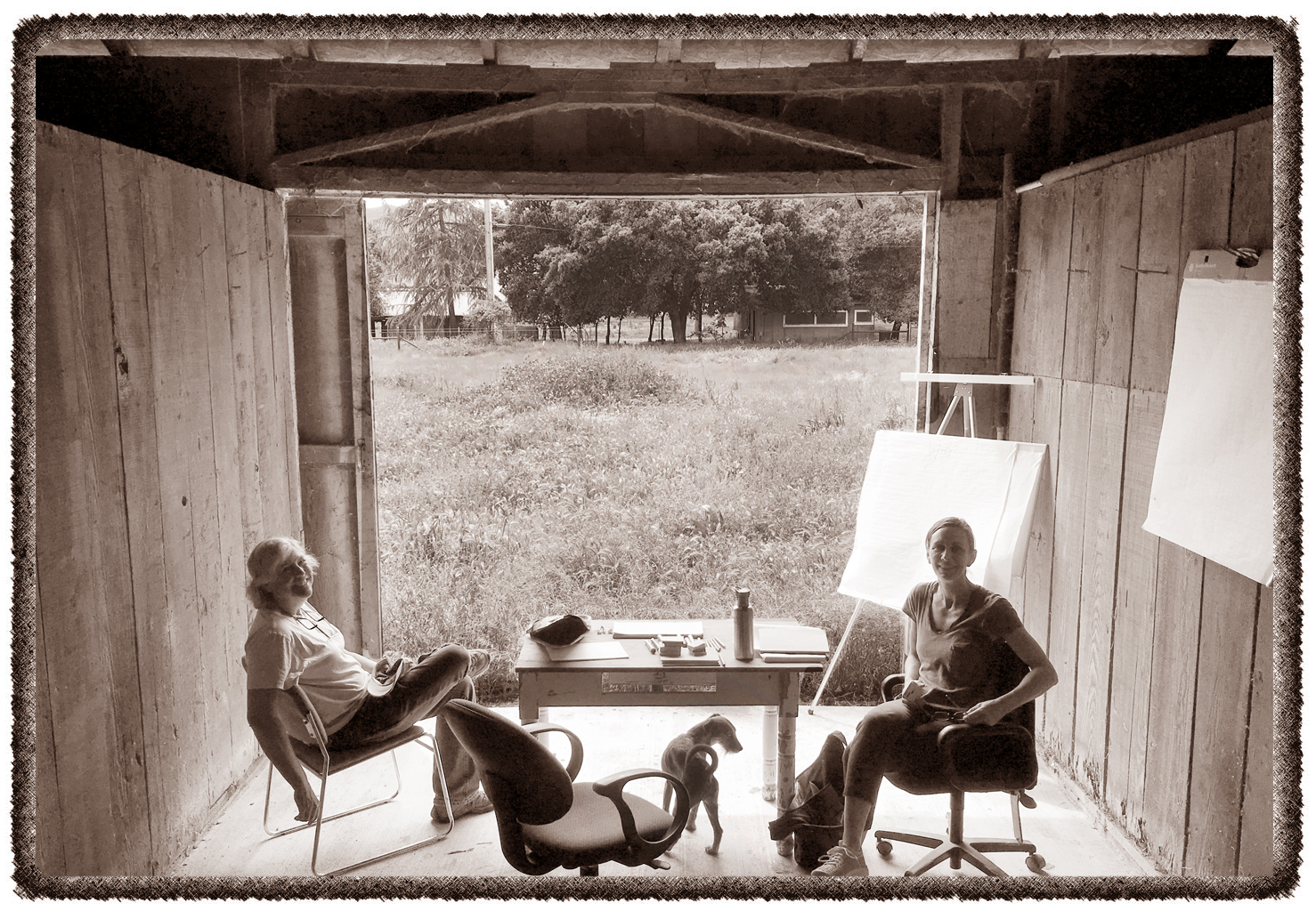"2015 -- Brainstorming session with Sallie, Elaine, Fritz (and Avery) in the ""Headquarters"" barn that birthed the  #NoRegrets Initiative."